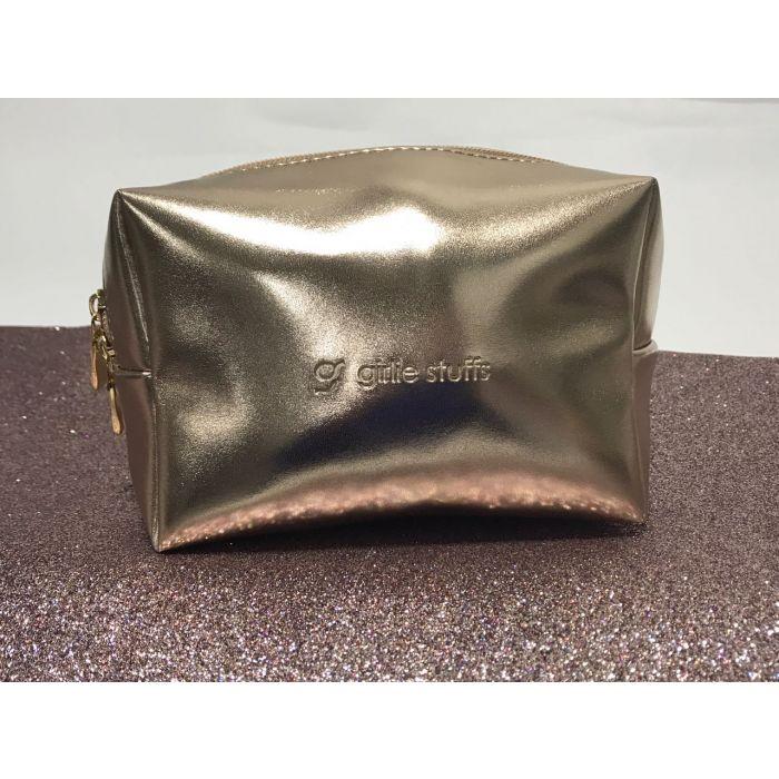 Girliestuffs - Rose gold Metallic Travel Cosmetic Pouch